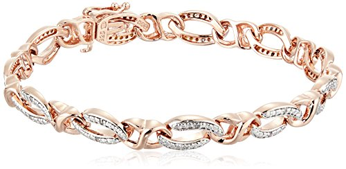18k Rose Gold Plated Sterling Silver Diamond Bracelet (1/10 cttw, I-J Color, I2-I3 Clarity)