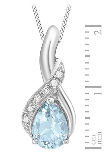Carissima Gold - Pendentif - Femme - Or blanc (9 cts) 1.7 Gr - Topaze - Diamant