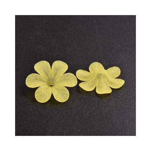 (Packet 20 x Yellow Lucite 8 x 33mm Flower Beads HA26240 (Charming Beads))
