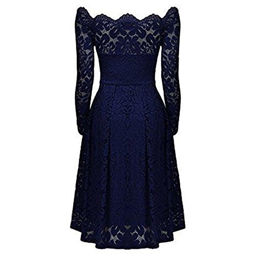 Azul coctel de de AIMEE7 elegante la de hombros larga vestido de mujeres descubiertos escote vestido fiesta Vestido manga fiesta vestido vestido formal las noche vendimia de mujer gwgqTF0x