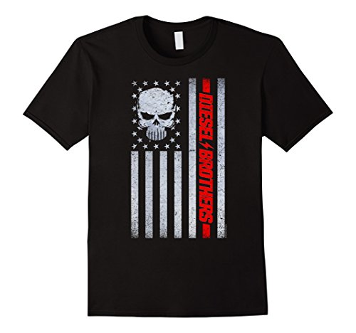 Diesel Womens Clothing - Mens Diesel Brothers Grungy American Flag Skull Graphic T-Shirt Large Black