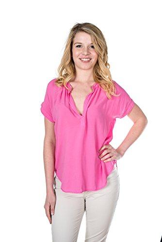 VELVET BY GRAHAM & SPENCER Women's Challis Short Sleeve Blouse, Pucker, Small