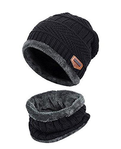 ZZLAY Kids Winter Thick Beanie Hat Scarf Set Slouchy Warm Snow Knit Skull Cap by ZZLAY