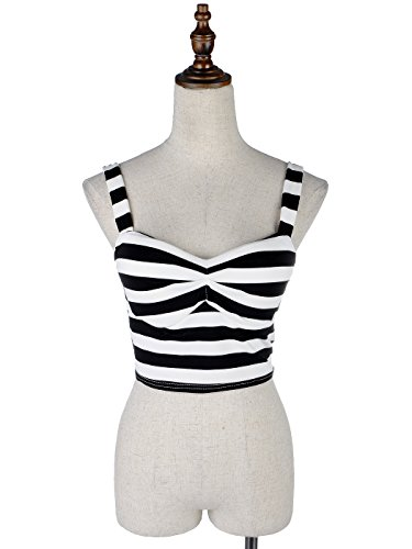 Anna Kaci S/M Fit Black and White Surplice Neckline Stripped Short Blouse