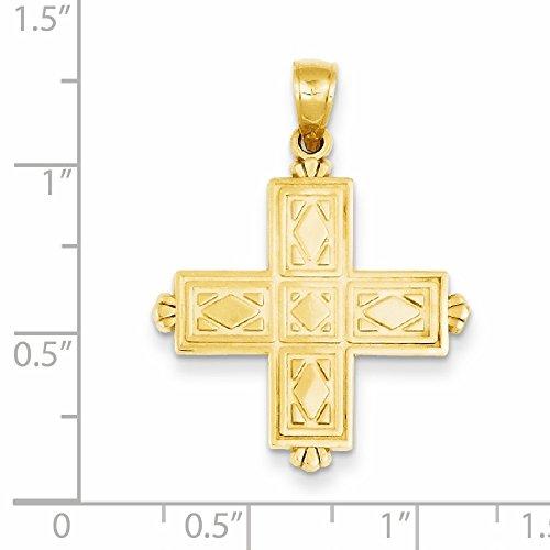 Or 14ct carré gravé Pendentif-Croix avec pointes Couronne -