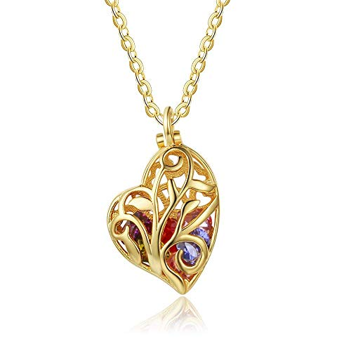 Lam Hub Fong Personalized Mother's Simulated Birthstone Necklaces for Women Mothers Daughters Heart Encased Cage Promise Necklace Mother's Day Pendant for Mom (Gold)