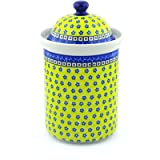 Polish Pottery Jar with Lid 11-inch Sunburst Daisies