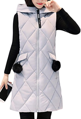 Diamond Vest Sleeveless Full Women's Zip Down Gery Puffer Hoodie n0IqppWOR