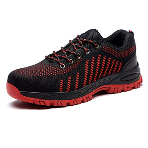 Steel Toe Breathable Industrial Construction Shoes for Men Women Weaving Work Safety Shoes (9 Women / 7 Men, red) ()