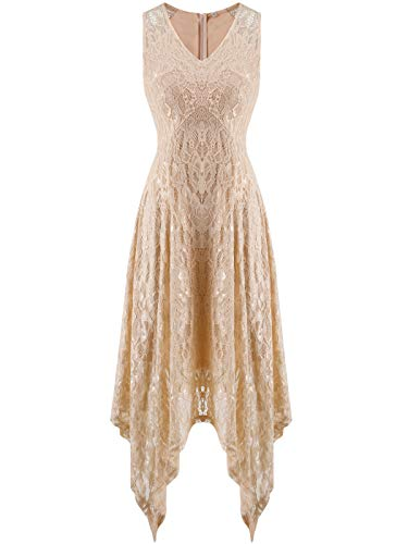 FAIRY COUPLE Women's V-Neck Floral Lace Asymmetrical Handkerchief Hem Cocktail Party Dresses DL022C(2XL,C Champagne)