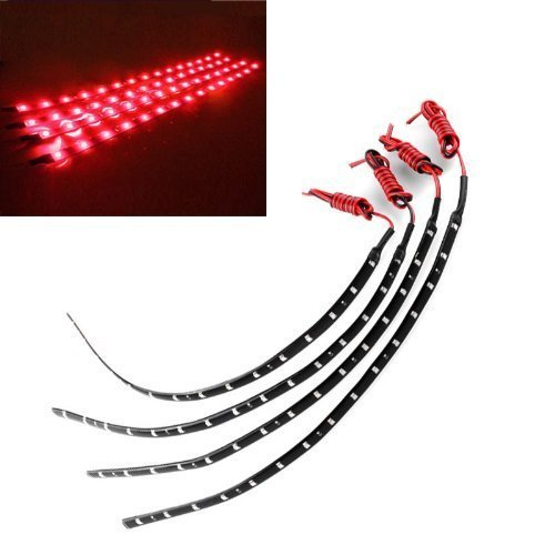 OCPTY RGB Motorcycle LED Strip Light Red 30CM 15-SMD Accent Glow Neon Lights Lamp Waterproof Turn Signal Light Replacement fit for Pickup SUV Jeeps RV Dodge Ram Toyota Chevy GMC,10 Pack