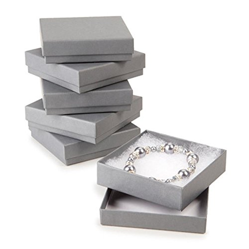 Darice Cotton Filled Grey Jewelry Boxes, 6 Piece
