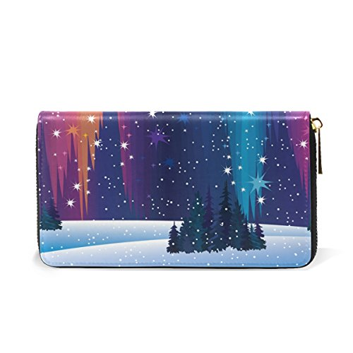 Around TIZORAX Winter And Purses And Womens Handbags Clutch Lights Nature Wallet Zip Organizer Northern pp7gH