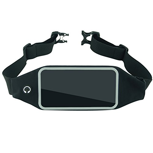 """WPPE Universal Sports Running Waist Pouch for All Smartphones up to 5.5"""", Double-ply Bag with Headphone Jack and Rainproof Function (black, 5.5"""") Review"""