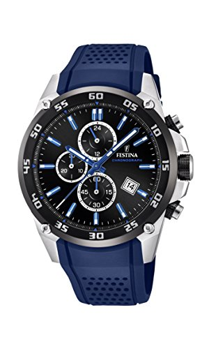 (Festina 'The Originals Collection' Men's Quartz Watch with Black Dial Chronograph Display and Blue Rubber Strap)