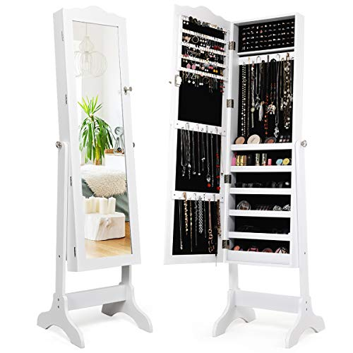 Giantex Jewelry Box Armoire with Mirror, Standing Jewelry Cabinet, 29 Necklace Holder Hooks Ring Earring Makep Display Storage Organizer Gift Armoires for Girls Women Jewelry Cabinets (White-New)