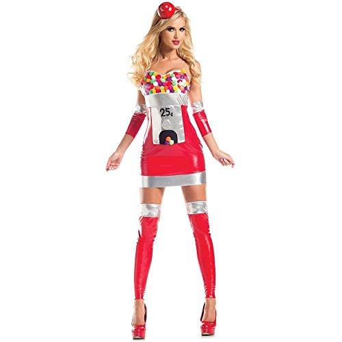 Party King Women's Bubblegum Babe Sexy 4 Piece Costume Dress Set, Red, Medium -