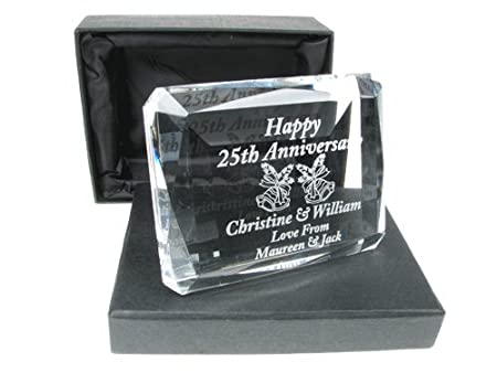 25th Wedding Anniversary Gift Engraved 25th Wedding Anniversary