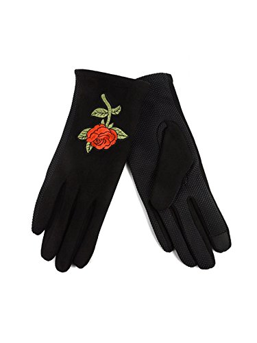 Women's Rose Embroidered Winter Gloves W Fleece Lining