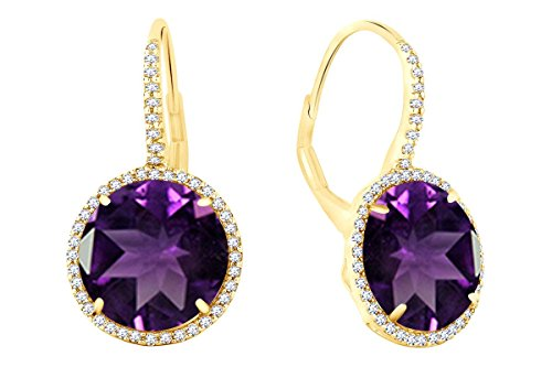 Sterling Silver Simulated Amethyst & White Cubic Zirconia Round-Cut Halo Drop Leverback Earrings (14.45 cttw)