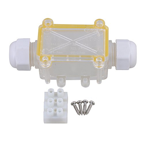 BQLZR Transparent IP68 Waterproof Outdoor Mini 2 Way Cable Wire Connectors Electrical Junction Box 1 In 1 Out with Terminal