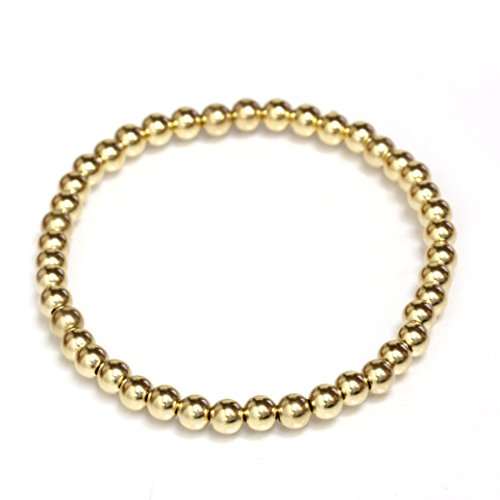 Seven Seas Pearls Bead Stretch Elastic Bracelet 14k Gold Yellow, White and Rose, Easy Slid On (7, Yellow-Gold)
