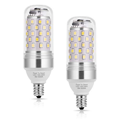 TechgoMade E12 Base Dusk to Dawn LED Sensor Light Bulb, Candelabra 80W Equivalent Candle Bulb Light, 5000K Daylight White for Home Lighting, Bedroom Lighting, Porch Light, Corridor Bulb, Pack of 2