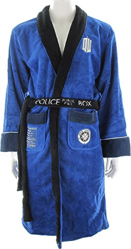 Doctor Who Embroidered Tardis Blue Fleece (One Size Fits Most) Unisex (Embroidered Fleece Robe)