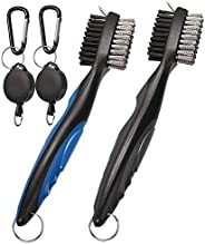 Golf Club Brush 2 Pack Groove Cleaner 2 Ft Retractable Zip-line Cleaning Tool Accessories with Carabiner