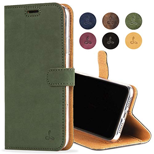 iPhone XR Case, Luxury Genuine Leather Wallet with Viewing Stand and Card Slots, Flip Cover Gift Boxed and Handmade in Europe for Apple iPhone XR (Dark Green)