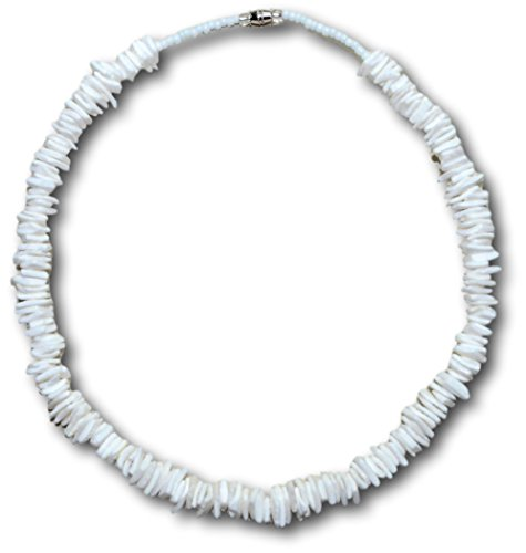 Philippine Shell Jewelry (Native Treasure - 20 inch White Rose Clam Chips Puka Shell Necklace Genuine Tropical Shell Necklace from the Philippines)