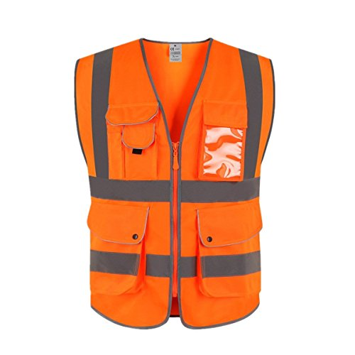 XIAKE Class 2 Reflective Safety Vest with 9 Pockets and Front Zipper High Visibility Safety Vests,ANSI/ISEA Standards(Medium,Orange)
