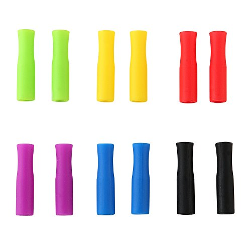 YWQ 12 Pcs Multicolored Food Grade Silicone Tips Cover,Only fit for 7cm 8cm 9cm Wide Stainless Steel Straws