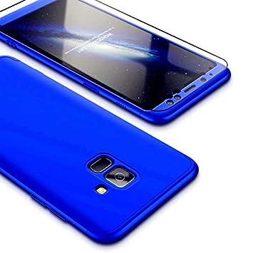 JINCHANGWU Compatible con Funda Samsung Galaxy A8 Plus 2018, Carcasa Samsung Galaxy A8 Plus 2018 con [ Cristal Templado] Carcasa 3 en 1 Caso, Azul