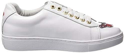 Colors of california New Sole Sneaker in Nappa with Patches, Baskets Femme Weiß (White)