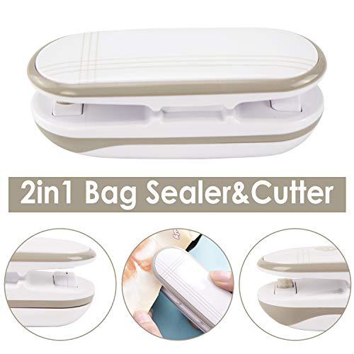 Mini Plastic Bag Sealer, 2 in 1 Heat Sealer and Cutter Handheld Portable Bag Resealer Sealer for Plastic Bags Food Storage Snack Fresh Bag Sealer Airtight Seal (Battery Not Included), White