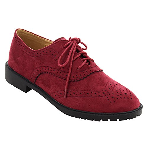 FOREVER+GD61+Women%27s+Lace+Up+Low+Chunky+Heel+Casual+Oxford+Shoes%2C+Color%3ABURGUNDY%2C+Size%3A7.5