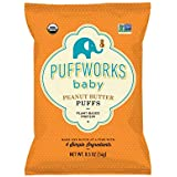 Puffworks Baby Organic Peanut Butter Puffs, Perfect for Early Peanut Introduction for Allergy Prevention, Plant-Based Protein