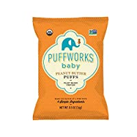 Puffworks Baby Organic Peanut Butter Puffs | Baked Plant-Protein Snacks for Babies...