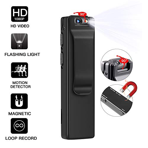 16GB Mini Hidden Camera, 1080P Small Hidden Spy Camera Nanny Cam with LED Lighting / Magnetic Attachment, 1100mAh Battery, Perfect Indoor Covert Security Camera for Home and Office