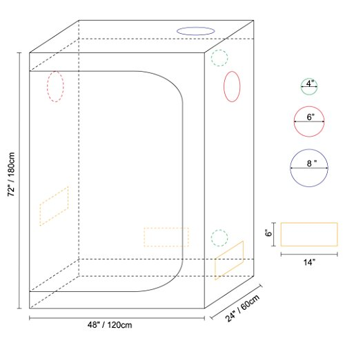 41JS1z64nPL - IDAODAN 48x24x72 inch Mylar Hydroponic Indoor Grow Tent for Plant Growing, 600D Waterproof Oxford Cloth, All Steel Structure, Eco-friendly