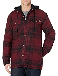 mens Relaxed Fit Hooded Quilted Shirt Jacket