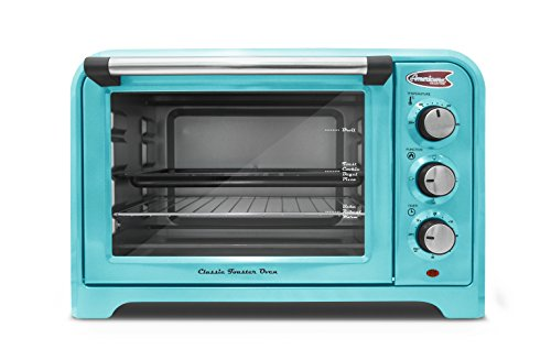Americana  ERO-2600BL  Americana Collection Retro 6 Slice/12″ Pizza Toaster oven, Blue, , Blue 41JS21cNBXL