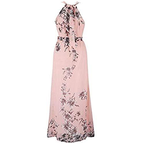 ♥ HebeTop ♥ Chiffon Long Dress, Women Summer Causal Boho Beach Cocktail Sundress Flowy Maxi Dress Pink ()