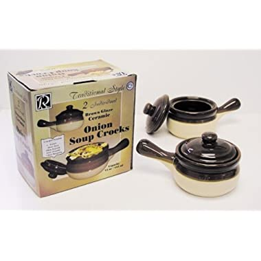 R & M International  Set of 2 Individual Onion Soup Crocks, Brown