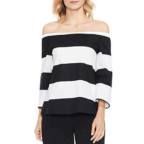 Best-selling Vince Camuto Womens Long Sleeve Camden Bold Stripe Off Shoulder Blouse Rich Black One Size
