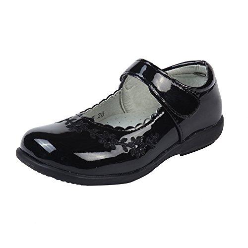 MK MATT KEELY Girls' Black Leather Shoes School Uniform Leisure Mary Jane Flower Princess Shoes 13 M US Little Kid