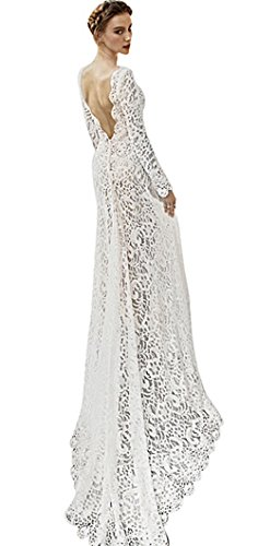 Yomoko Women's Sexy Deep V Neck Lace Long Sleeve Backless Long Maxi Evening Prom Dresses (Large, White)