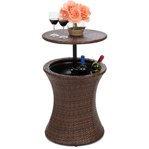 Best Choice Products 7.5-Gallon Outdoor All-Weather Wicker Patio Pool Cooler Bar Table w/Adjustable Top - Brown (Rattan Sale Furniture Cube)