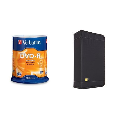 Price comparison product image Verbatim 4.7 GB 16x DVD-R 100-Discs with Case Logic CD/DVD 100 Capacity Classic Wallet